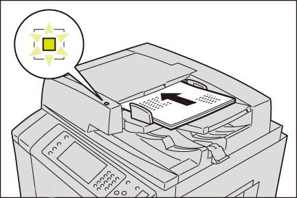 原稿送り装置の中央にセットします