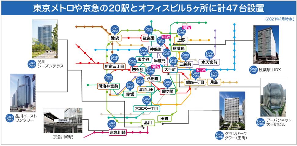 東京メトロや京急の20駅とオフィスビル5ヶ所に計47台設置