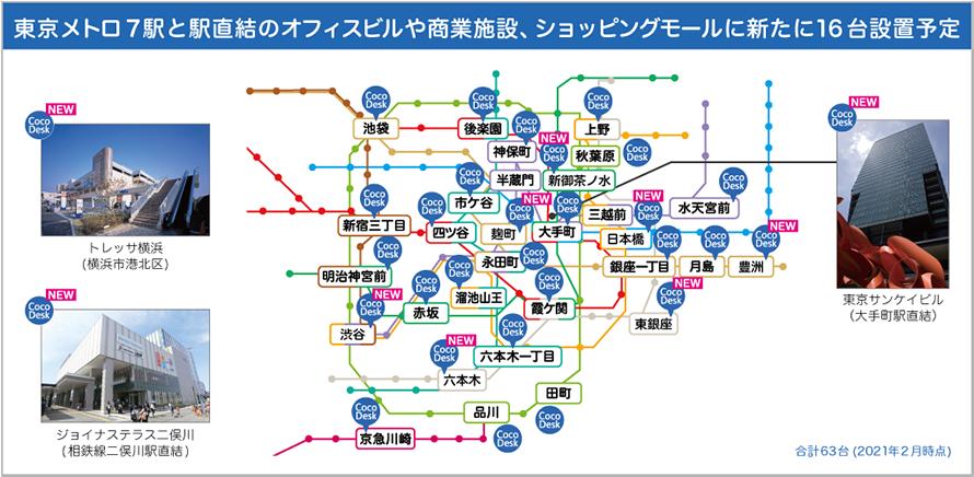 東京メトロ7駅と駅直結のオフィスビルや商業施設、ショッピングモールに新たに16台設置予定