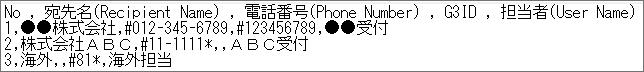 担当者情報ファイルの例