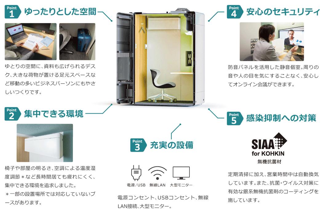 · ゆったりした空間· 集中できる環境· 安心のセキュリティ· 充実の設備