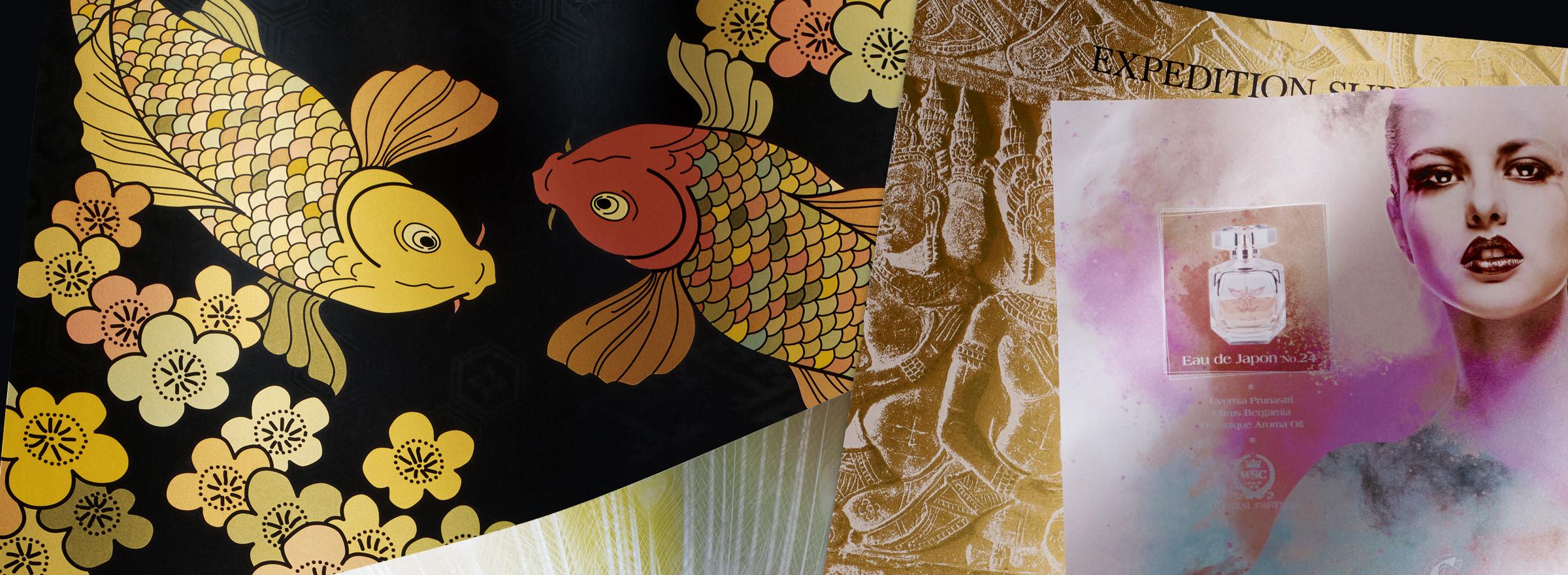 デザイナー必見!Iridesse™ Production Pressでゴールド、シルバー、ホワイト、クリア、ピンクトナーを利用したメタリックカラーデザインをご紹介